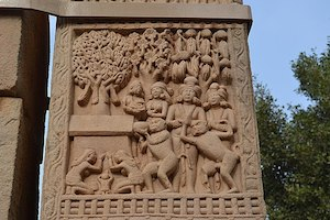 Aniconic carving representing the final nirvana of a Buddha at Sanchi.