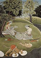 Rama with his wife Sita and brother Lakshmana during exile in forest, manuscript, ca. 1780