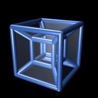 The 4D equivalent of a cube, known as a tesseract. The tesseract is rotating in four-dimensional space, and it is displayed here projected into two dimensions.